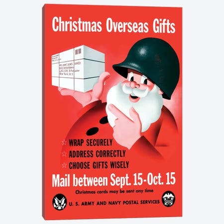 WWII Poster Christmas Overseas Gifts Canvas Print #TRK145} by John Parrot Canvas Art Print