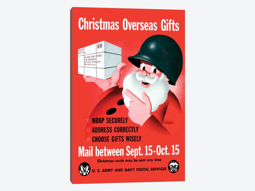 WWII Poster Christmas Overseas Gifts by John Parrot 1-piece Canvas Art Print