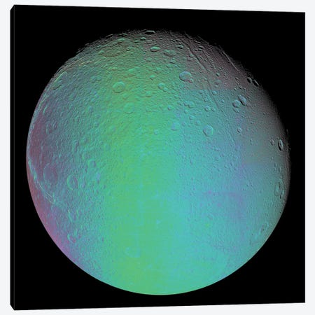 False Color View Of Saturn's Moon Dione Canvas Print #TRK1464} by Stocktrek Images Art Print