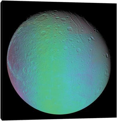False Color View Of Saturn's Moon Dione Canvas Art Print