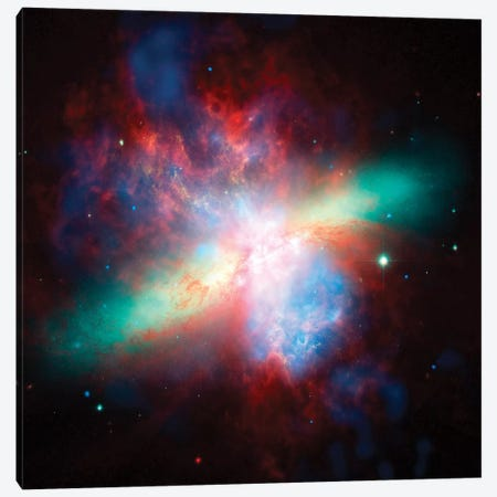 False Color View Of The Messier 82 Galaxy Canvas Print #TRK1465} by Stocktrek Images Canvas Art Print