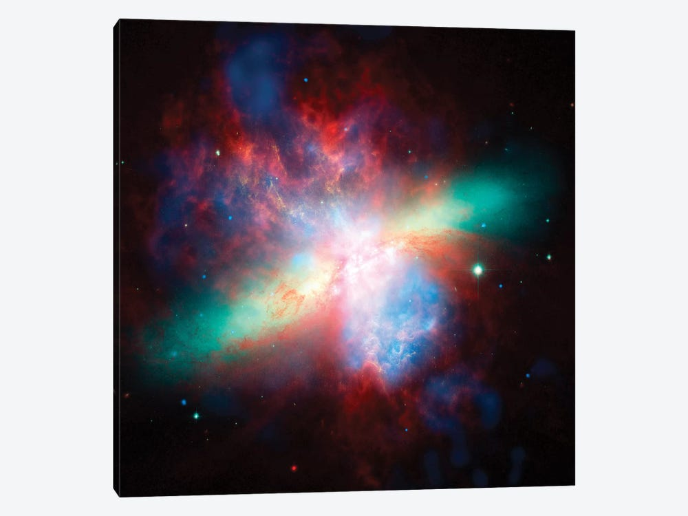False Color View Of The Messier 82 Galaxy by Stocktrek Images 1-piece Art Print