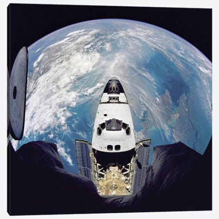 Fish-Eye View Of The Space Shuttle Atlantis Canvas Print #TRK1467} by Stocktrek Images Art Print