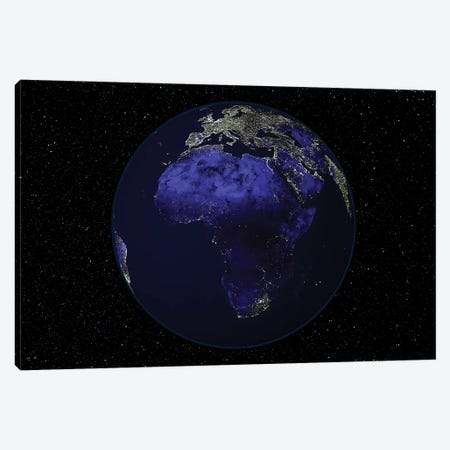 Full Earth At Night Showing Africa And Europe Canvas Print #TRK1468} by Stocktrek Images Canvas Art