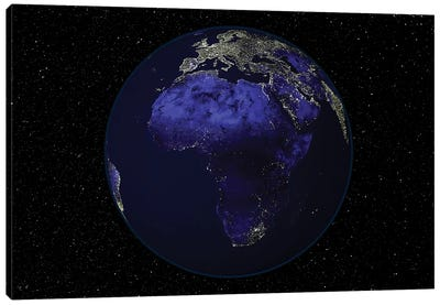 Full Earth At Night Showing Africa And Europe Canvas Art Print