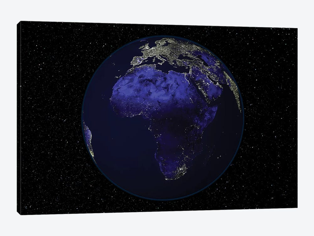 Full Earth At Night Showing Africa And Europe by Stocktrek Images 1-piece Canvas Artwork
