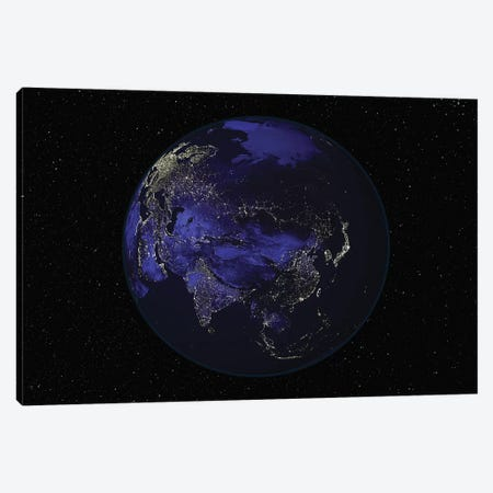 Full Earth At Night Showing City Lights Centered On Asia Canvas Print #TRK1469} by Stocktrek Images Canvas Wall Art