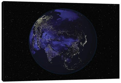 Full Earth At Night Showing City Lights Centered On Asia Canvas Art Print