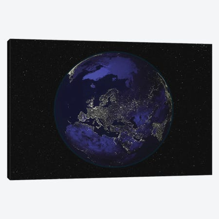 Full Earth At Night Showing City Lights Centered On Europe Canvas Print #TRK1470} by Stocktrek Images Canvas Print