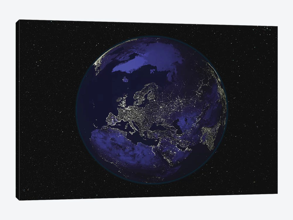 Full Earth At Night Showing City Lights Centered On Europe by Stocktrek Images 1-piece Art Print