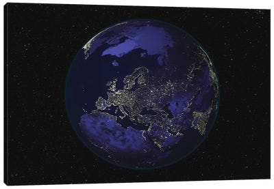 Full Earth At Night Showing City Lights Centered On Europe Canvas Art Print
