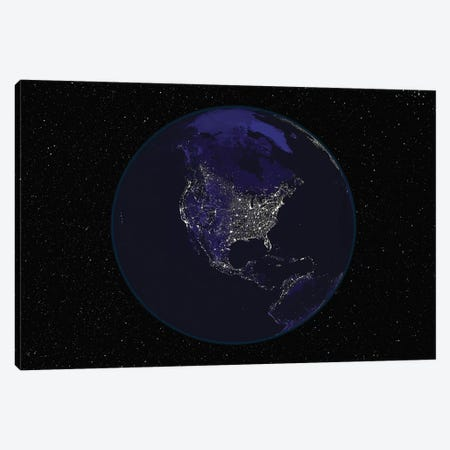 Full Earth At Night Showing City Lights Centered On North America Canvas Print #TRK1471} by Stocktrek Images Canvas Print
