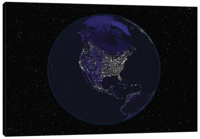 Full Earth At Night Showing City Lights Centered On North America Canvas Art Print