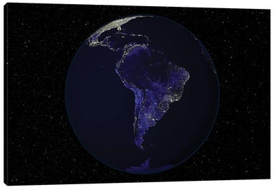 Full Earth At Night Showing City Lights Centered On South America Canvas Art Print