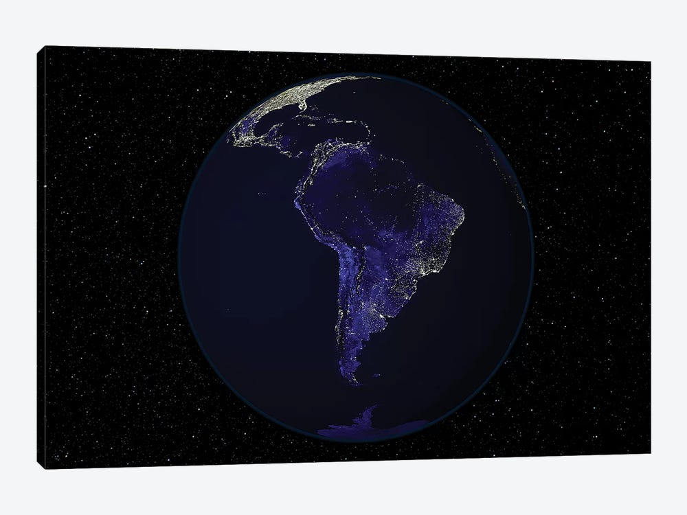Full Earth At Night Showing City Lights Centered On South America by Stocktrek Images 1-piece Canvas Print