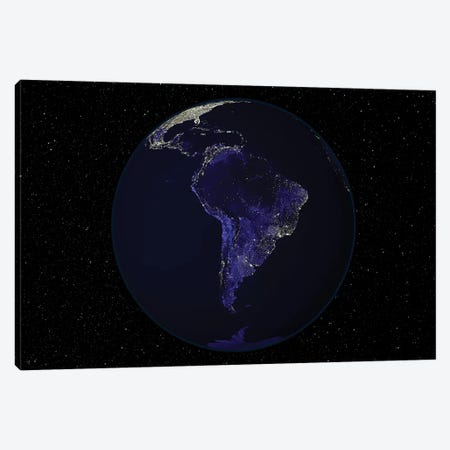 Full Earth At Night Showing City Lights Centered On South America Canvas Print #TRK1472} by Stocktrek Images Canvas Art Print