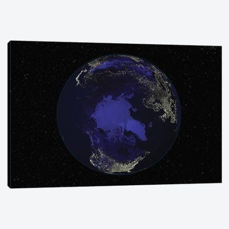 Full Earth At Night Showing City Lights Centered On The North Pole Canvas Print #TRK1473} by Stocktrek Images Canvas Print