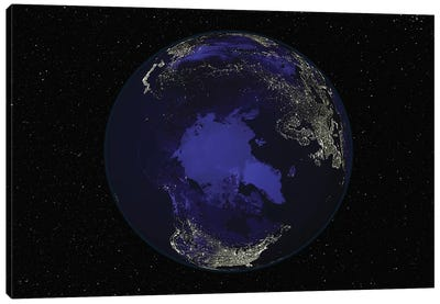 Full Earth At Night Showing City Lights Centered On The North Pole Canvas Art Print