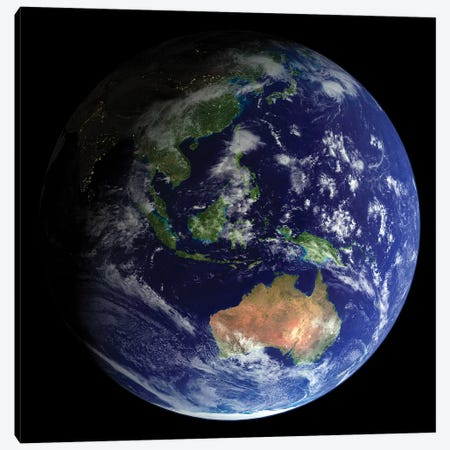 Full Earth From Space Showing Australia Canvas Print #TRK1474} by Stocktrek Images Canvas Artwork