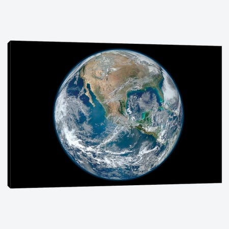 Full Earth Showing North America And Mexico Canvas Print #TRK1475} by Stocktrek Images Canvas Wall Art