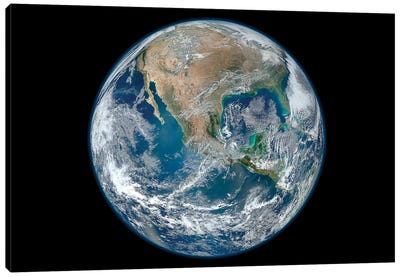 Full Earth Showing North America And Mexico Canvas Art Print
