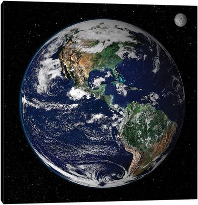 Full Earth Showing North And South America I Canvas Art Print