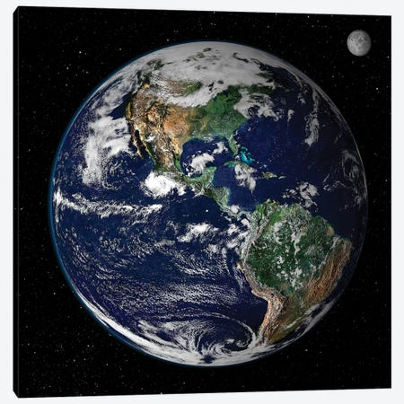 Full Earth Showing North And South America I Canvas Print #TRK1476} by Stocktrek Images Canvas Artwork