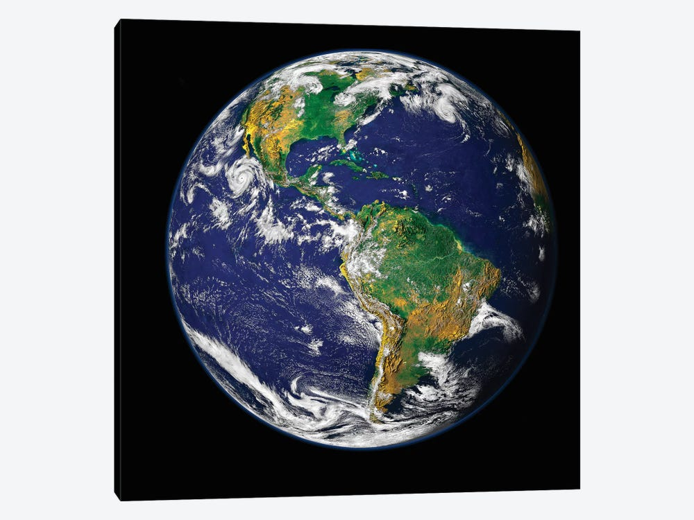 Full Earth Showing The Western Hemisphere by Stocktrek Images 1-piece Canvas Art Print