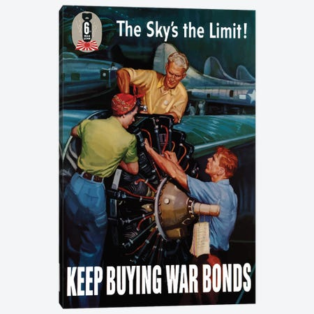 WWII Poster Keep Buying War Bonds Canvas Print #TRK147} by John Parrot Canvas Art Print