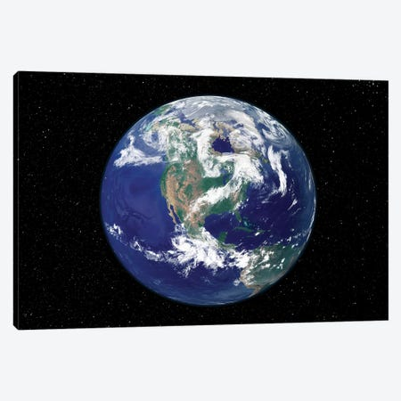 Fully Lit Earth Centered On North America Canvas Print #TRK1483} by Stocktrek Images Canvas Artwork
