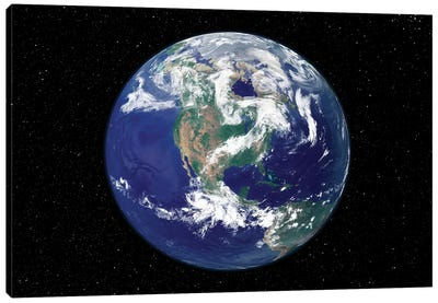 Fully Lit Earth Centered On North America Canvas Art Print