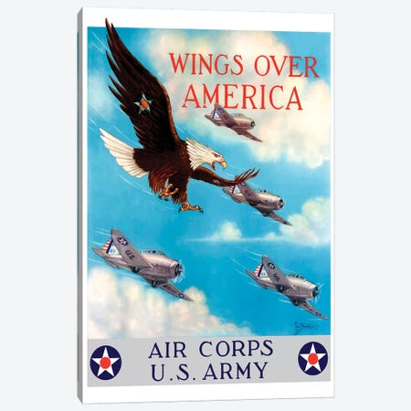 WWII Poster Of A Bald Eagle Flying In The Sky With Fighter Planes Canvas Print #TRK148} by John Parrot Canvas Wall Art