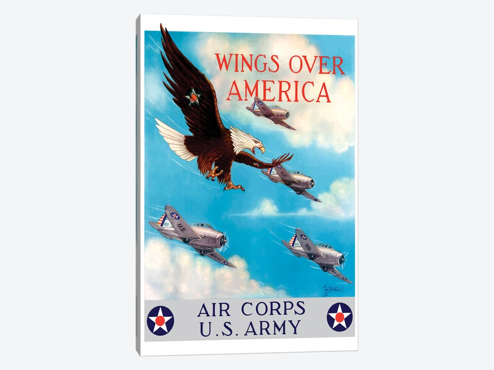 WWII Poster Of A Bald Eagle Flying In The Sky With Fighter Planes by John Parrot 1-piece Canvas Wall Art