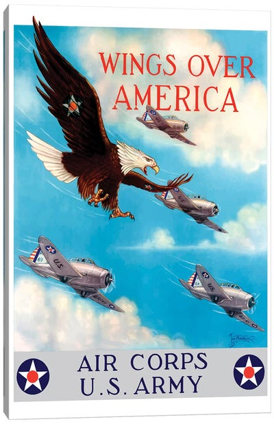 WWII Poster Of A Bald Eagle Flying In The Sky With Fighter Planes Canvas Art Print