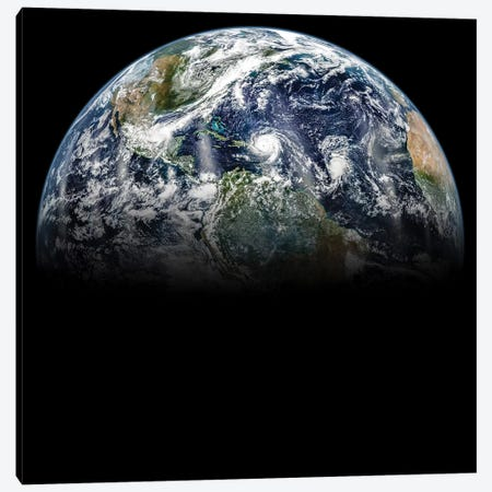 Hurricane Katia, Hurricane Irma, And Hurricane Jose Lined Up In A Mosaic Image Of Planet Earth Canvas Print #TRK1497} by Stocktrek Images Canvas Artwork