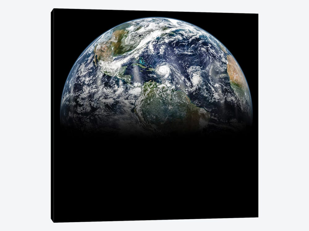 Hurricane Katia, Hurricane Irma, And Hurricane Jose Lined Up In A Mosaic Image Of Planet Earth by Stocktrek Images 1-piece Canvas Art