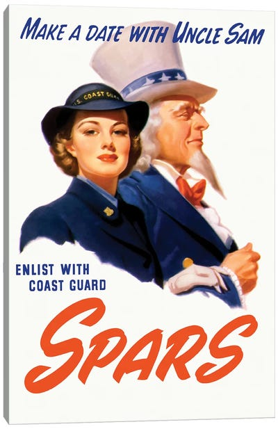 WWII Poster Of A Female Coast Guard Cadet And Uncle Sam Canvas Art Print