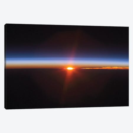 Layers Of Earth's Atmosphere, Brightly Colored As The Sun Sets Over South America Canvas Print #TRK1511} by Stocktrek Images Canvas Wall Art