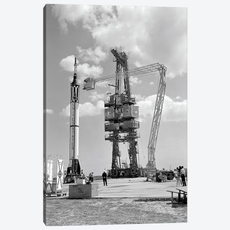 Mercury-Redstone 3 Prelaunch Activities On The Mercury 5 Launch Pad Canvas Print #TRK1526} by Stocktrek Images Canvas Artwork