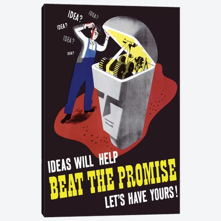 WWII Poster Of A Man Inspecting The Inner Workings Of A Statue's Brain Canvas Print #TRK152} by John Parrot Canvas Print