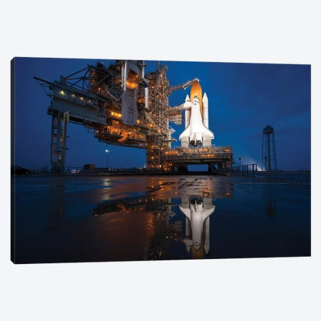 Night View Of Space Shuttle Atlantis On The Launch Pad At Kennedy Space Center, Florida Canvas Print #TRK1532} by Stocktrek Images Canvas Wall Art