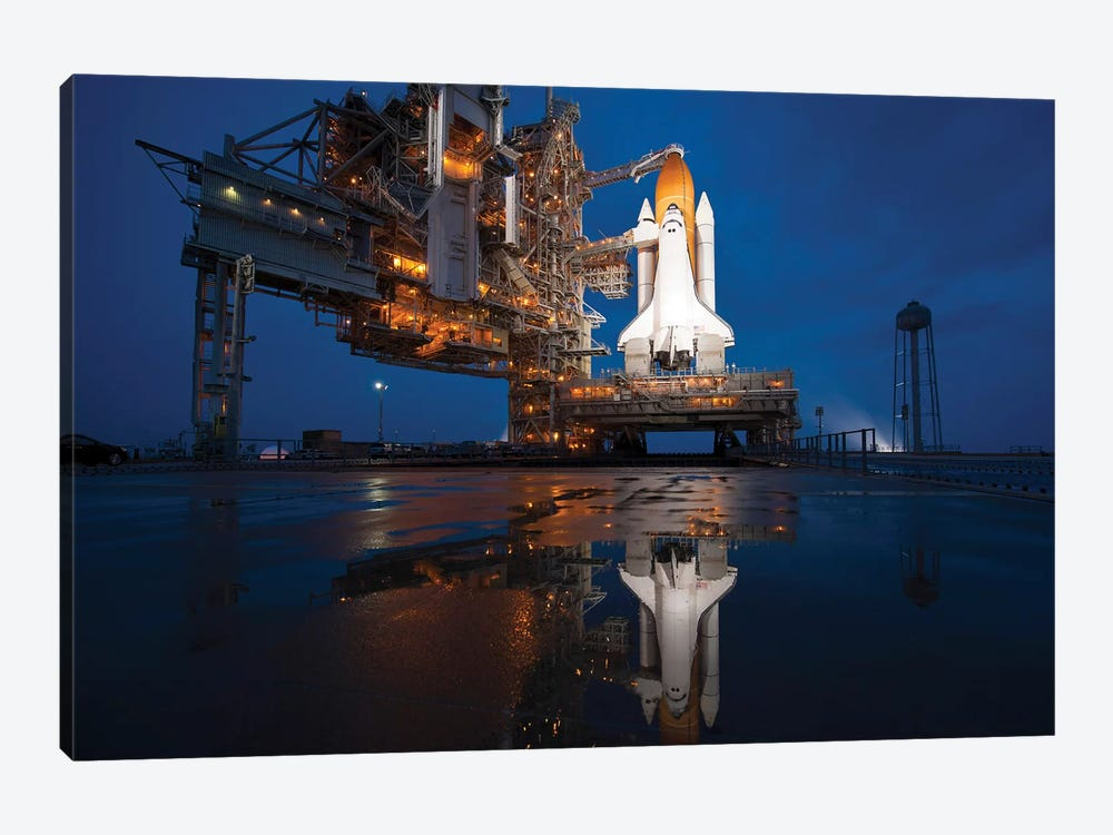 Night View Of Space Shuttle Atlantis On The Launch Pad At Kennedy Space Center, Florida by Stocktrek Images 1-piece Canvas Wall Art