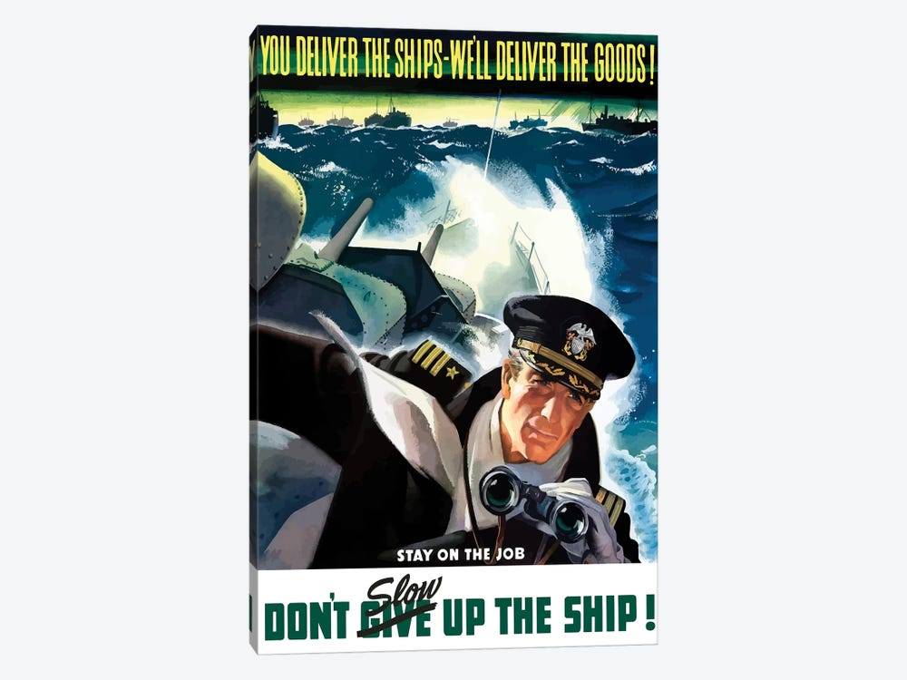 WWII Poster Of A Navy Commander With Binoculars Aboard A Battleship by John Parrot 1-piece Canvas Art