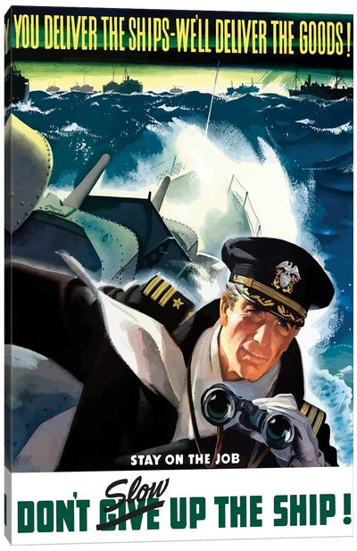 WWII Poster Of A Navy Commander With Binoculars Aboard A Battleship Canvas Art Print