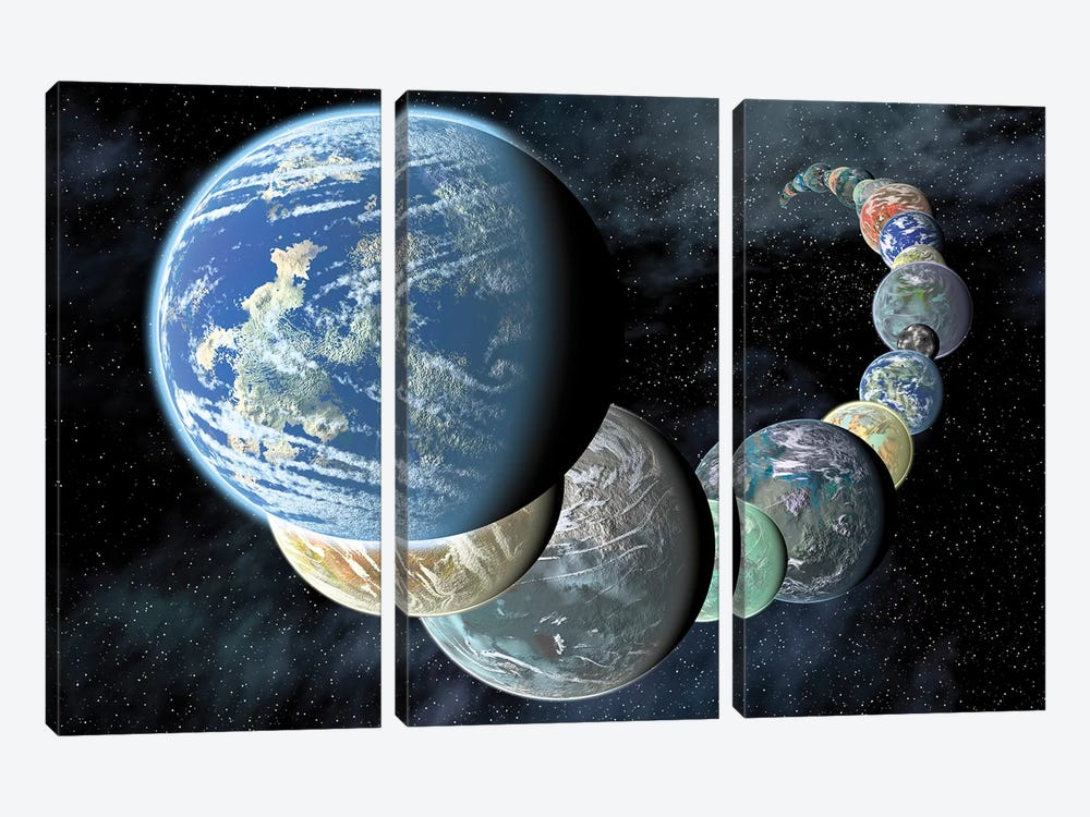 Rocky, Terrestrial Worlds by Stocktrek Images 3-piece Art Print