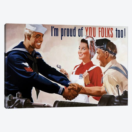 WWII Poster Of A Sailor Shaking Hands With Factory Workers Canvas Print #TRK154} by John Parrot Canvas Wall Art