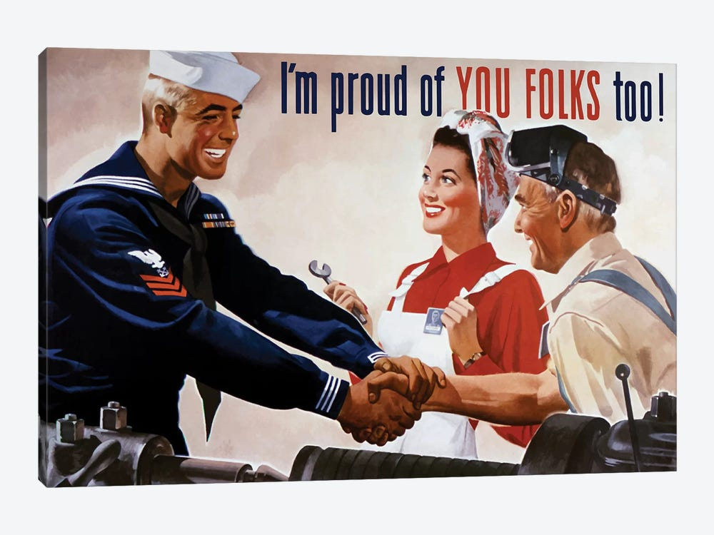 WWII Poster Of A Sailor Shaking Hands With Factory Workers by John Parrot 1-piece Art Print
