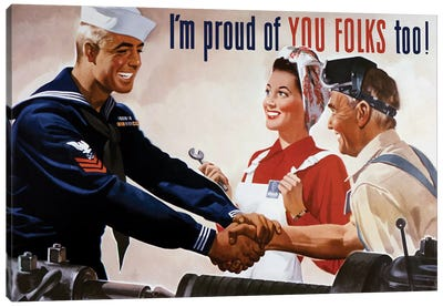 WWII Poster Of A Sailor Shaking Hands With Factory Workers Canvas Art Print