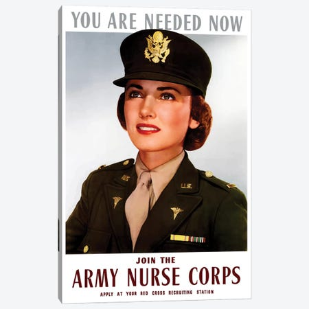 WWII Poster Of A Smiling Female Officer Of The US Army Medical Corps Canvas Print #TRK155} by John Parrot Canvas Wall Art