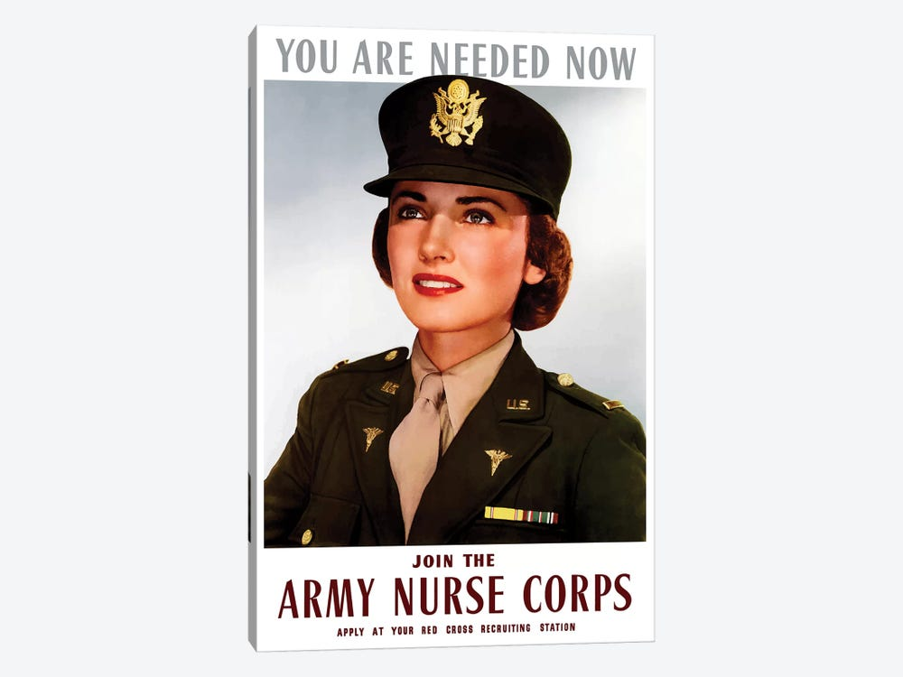 WWII Poster Of A Smiling Female Officer Of The US Army Medical Corps by John Parrot 1-piece Canvas Art